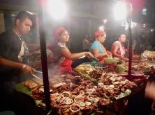street vendors, leon, nicaragua, sidewalks, fritanga